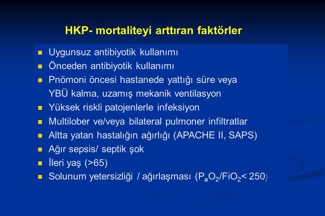 HKP- mortaliteyi arttıran faktörler Uygunsuz antibiyotik kullanımı Önceden antibiyotik kullanımı Pnömoni öncesi hastanede yattığı süre veya YBÜ kalma,
