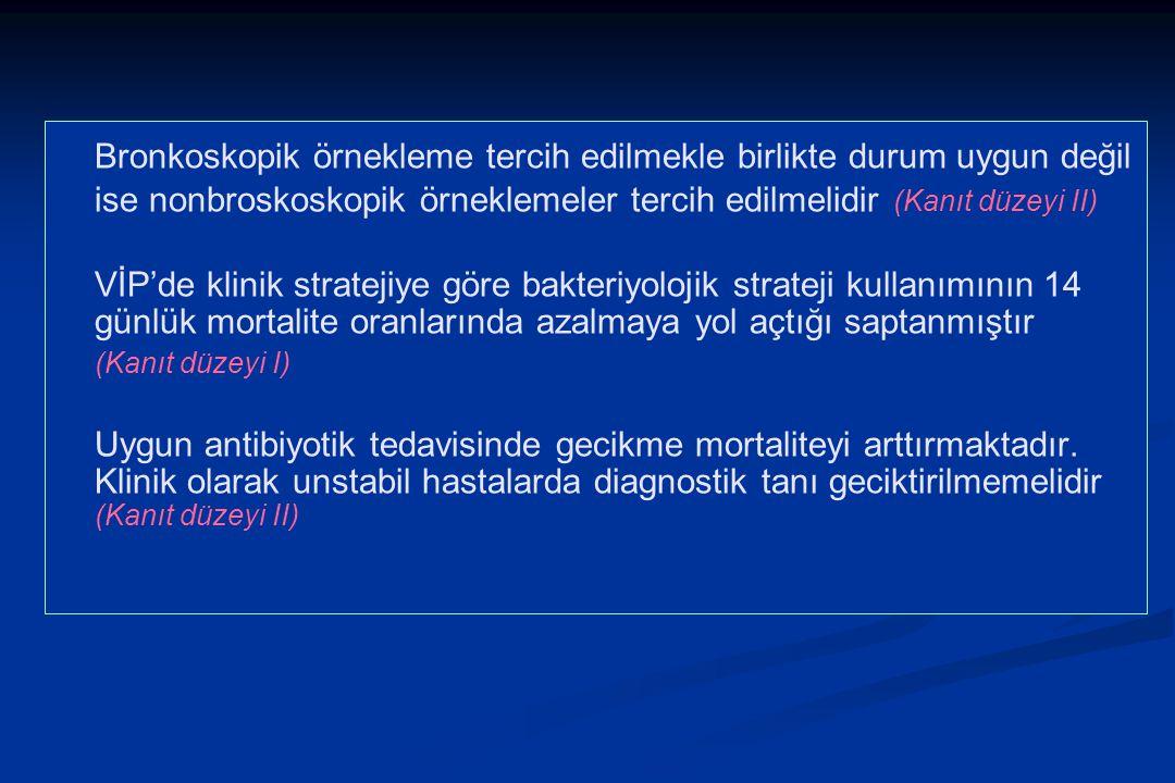 Bronkoskopik örnekleme tercih edilmekle birlikte durum uygun değil ise nonbroskoskopik örneklemeler tercih edilmelidir (Kanıt düzeyi II) VİP'de klinik