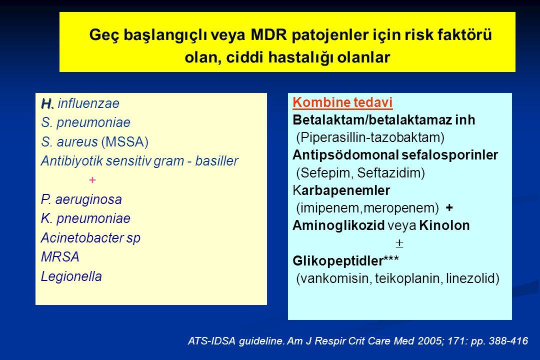 Geç başlangıçlı veya MDR patojenler için risk faktörü olan, ciddi hastalığı olanlar H. H. influenzae S. pneumoniae S. aureus (MSSA) Antibiyotik sensit