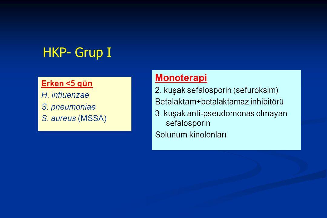 HKP- Grup I Erken <5 gün H. influenzae S. pneumoniae S. aureus (MSSA) Monoterapi 2. kuşak sefalosporin (sefuroksim) Betalaktam+betalaktamaz inhibitörü