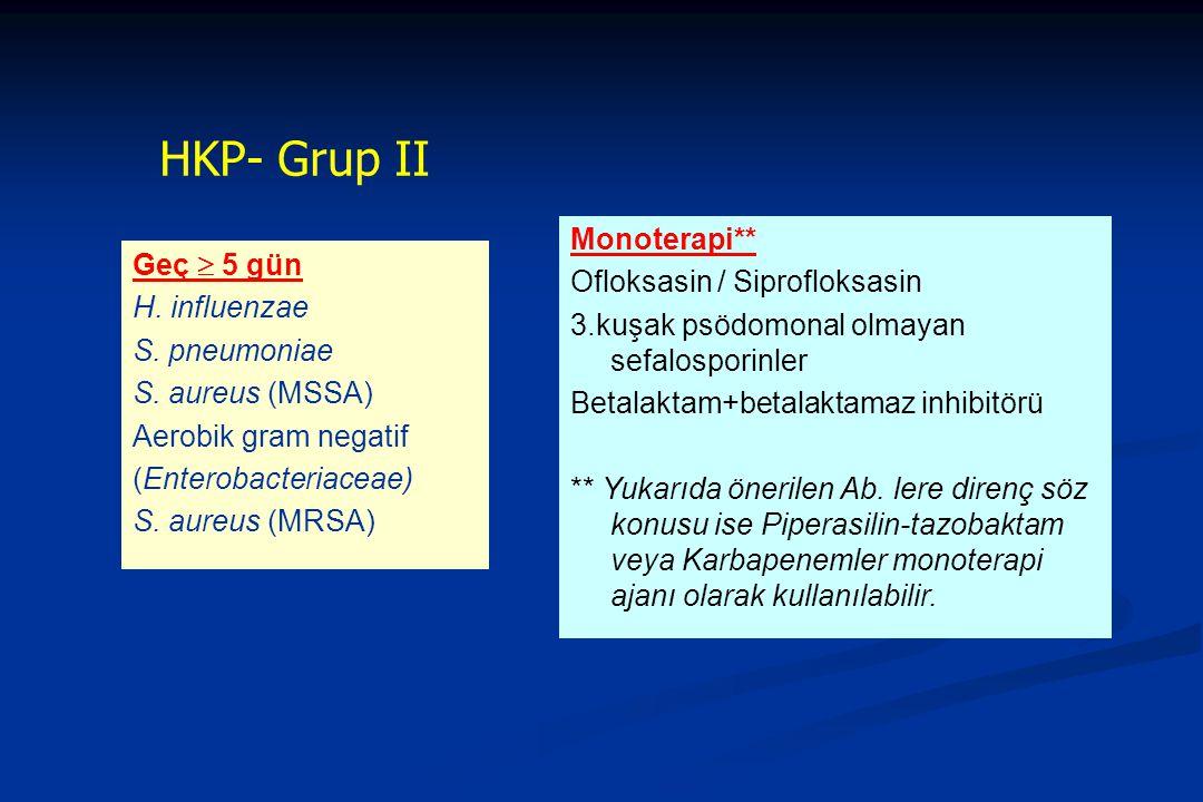 HKP- Grup II Geç  5 gün H. influenzae S. pneumoniae S. aureus (MSSA) Aerobik gram negatif (Enterobacteriaceae) S. aureus (MRSA) Monoterapi** Ofloksas