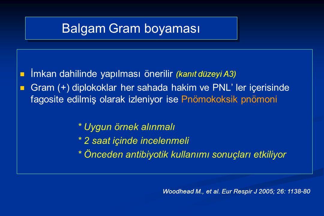 Balgam Gram boyaması İmkan dahilinde yapılması önerilir (kanıt düzeyi A3) Gram (+) diplokoklar her sahada hakim ve PNL' ler içerisinde fagosite edilmiş olarak izleniyor ise Pnömokoksik pnömoni * Uygun örnek alınmalı * 2 saat içinde incelenmeli * Önceden antibiyotik kullanımı sonuçları etkiliyor Woodhead M., et al.