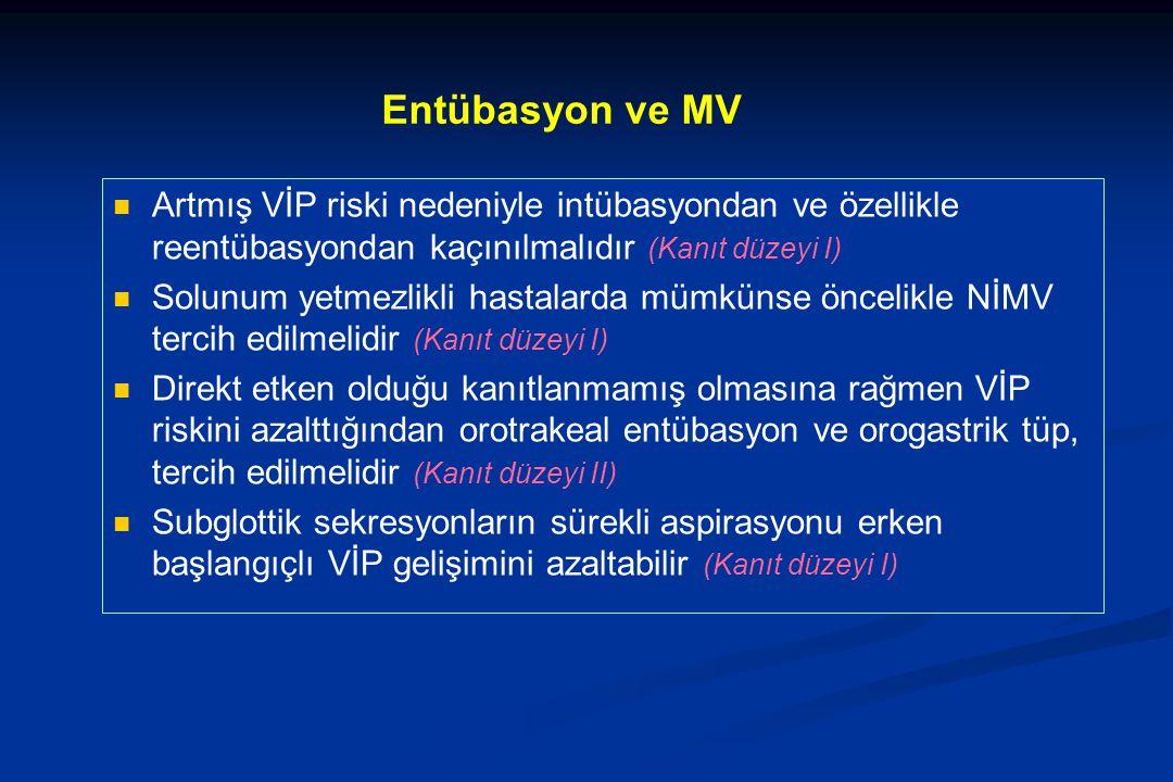 Entübasyon ve MV Artmış VİP riski nedeniyle intübasyondan ve özellikle reentübasyondan kaçınılmalıdır (Kanıt düzeyi I) Solunum yetmezlikli hastalarda mümkünse öncelikle NİMV tercih edilmelidir (Kanıt düzeyi I) Direkt etken olduğu kanıtlanmamış olmasına rağmen VİP riskini azalttığından orotrakeal entübasyon ve orogastrik tüp, tercih edilmelidir (Kanıt düzeyi II) Subglottik sekresyonların sürekli aspirasyonu erken başlangıçlı VİP gelişimini azaltabilir (Kanıt düzeyi I)