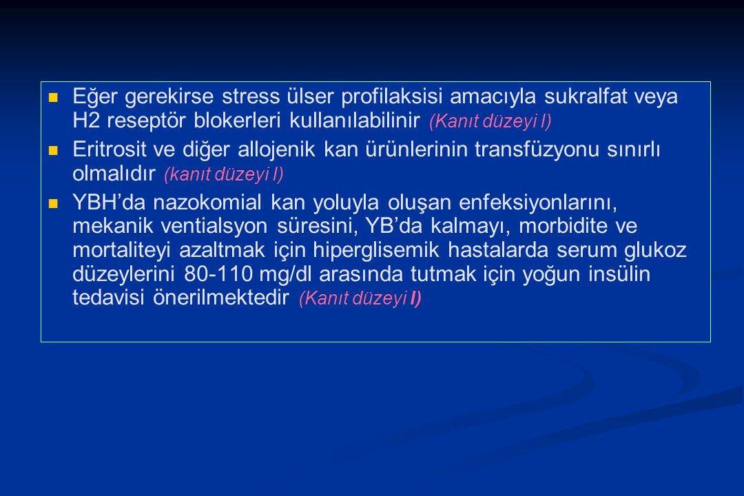 Eğer gerekirse stress ülser profilaksisi amacıyla sukralfat veya H2 reseptör blokerleri kullanılabilinir (Kanıt düzeyi I) Eritrosit ve diğer allojenik kan ürünlerinin transfüzyonu sınırlı olmalıdır (kanıt düzeyi I) YBH'da nazokomial kan yoluyla oluşan enfeksiyonlarını, mekanik ventialsyon süresini, YB'da kalmayı, morbidite ve mortaliteyi azaltmak için hiperglisemik hastalarda serum glukoz düzeylerini 80-110 mg/dl arasında tutmak için yoğun insülin tedavisi önerilmektedir (Kanıt düzeyi I)