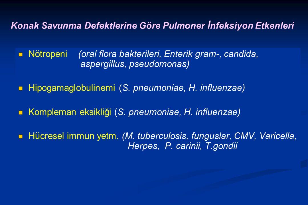 Konak Savunma Defektlerine Göre Pulmoner İnfeksiyon Etkenleri Nötropeni (oral flora bakterileri, Enterik gram-, candida, aspergillus, pseudomonas) Hipogamaglobulinemi (S.
