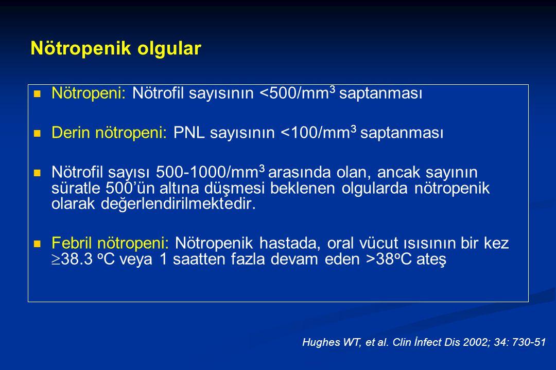 Nötropeni: Nötrofil sayısının <500/mm 3 saptanması Derin nötropeni: PNL sayısının <100/mm 3 saptanması Nötrofil sayısı 500-1000/mm 3 arasında olan, ancak sayının süratle 500'ün altına düşmesi beklenen olgularda nötropenik olarak değerlendirilmektedir.
