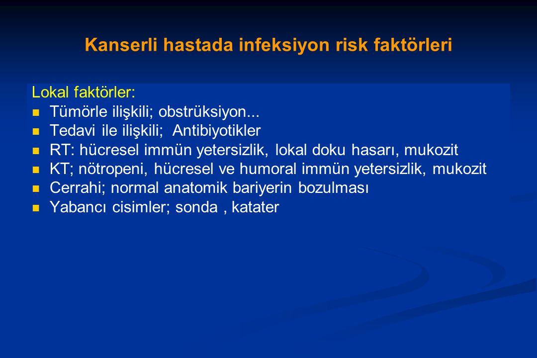 Kanserli hastada infeksiyon risk faktörleri Lokal faktörler: Tümörle ilişkili; obstrüksiyon...