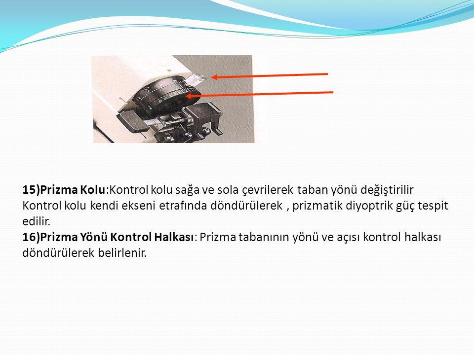 15)Prizma Kolu:Kontrol kolu sağa ve sola çevrilerek taban yönü değiştirilir Kontrol kolu kendi ekseni etrafında döndürülerek, prizmatik diyoptrik güç