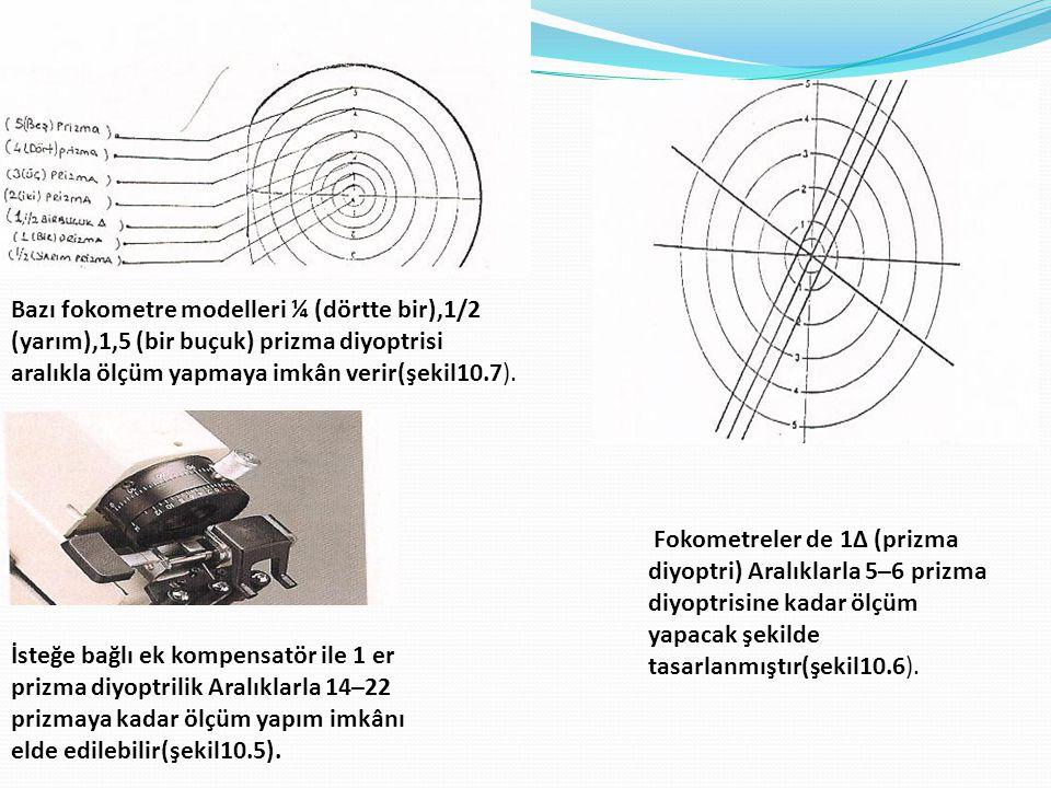 İsteğe bağlı ek kompensatör ile 1 er prizma diyoptrilik Aralıklarla 14–22 prizmaya kadar ölçüm yapım imkânı elde edilebilir(şekil10.5). Fokometreler d