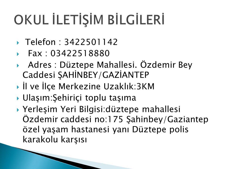  Telefon : 3422501142  Fax : 03422518880  Adres : Düztepe Mahallesi. Özdemir Bey Caddesi ŞAHİNBEY/GAZİANTEP  İl ve İlçe Merkezine Uzaklık:3KM  Ul