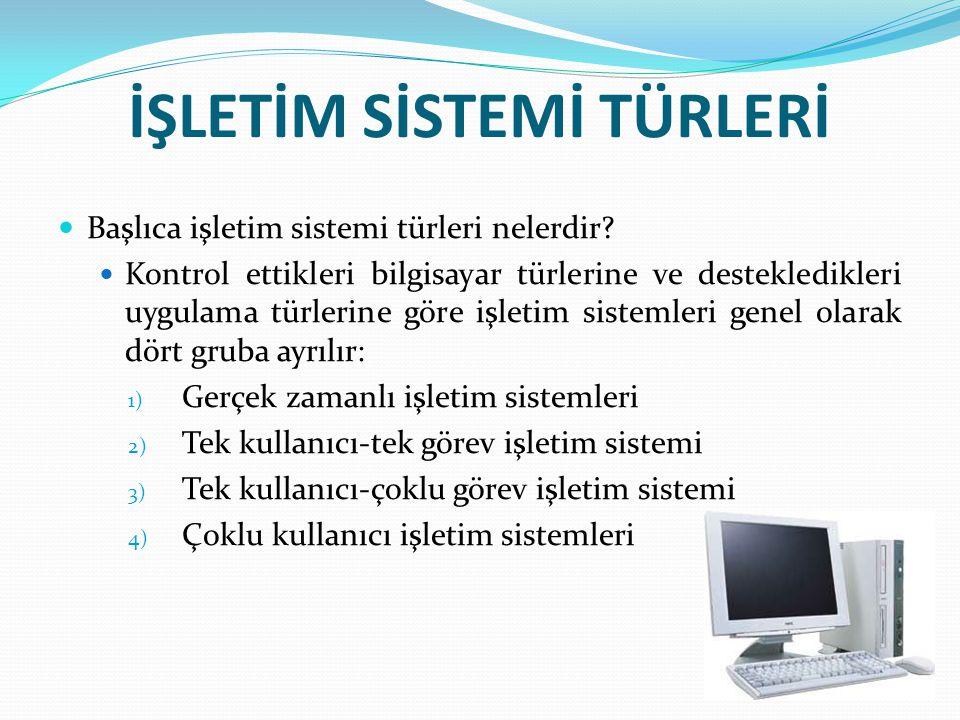 Gerçek Zamanlı İşletim Sistemleri: Bu işletim sistemi türü, genel olarak endüstride ve büyük işletmelerde bilgisayarları ve bilgisayarlara bağlı sistemleri kontrol etmek amacıyla kullanılır.