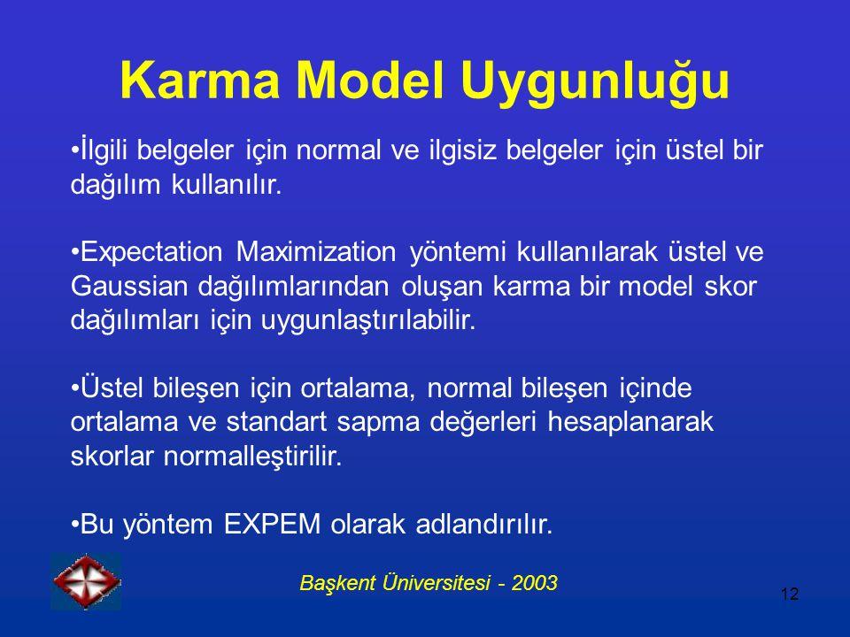 12 Karma Model Uygunluğu İlgili belgeler için normal ve ilgisiz belgeler için üstel bir dağılım kullanılır. Expectation Maximization yöntemi kullanıla