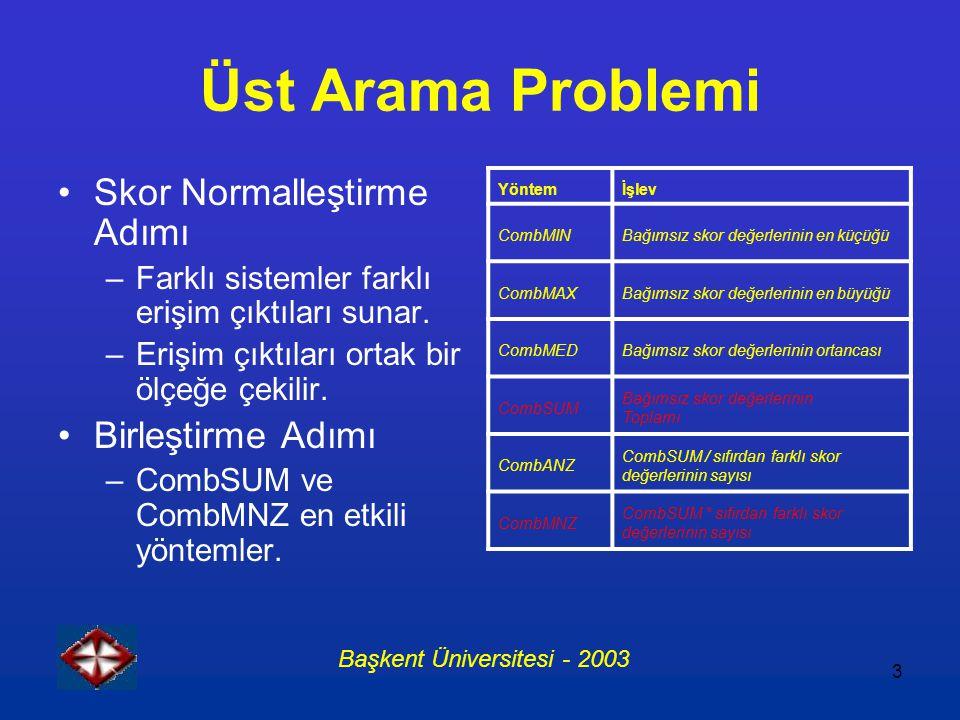 3 Üst Arama Problemi Skor Normalleştirme Adımı –Farklı sistemler farklı erişim çıktıları sunar. –Erişim çıktıları ortak bir ölçeğe çekilir. Birleştirm