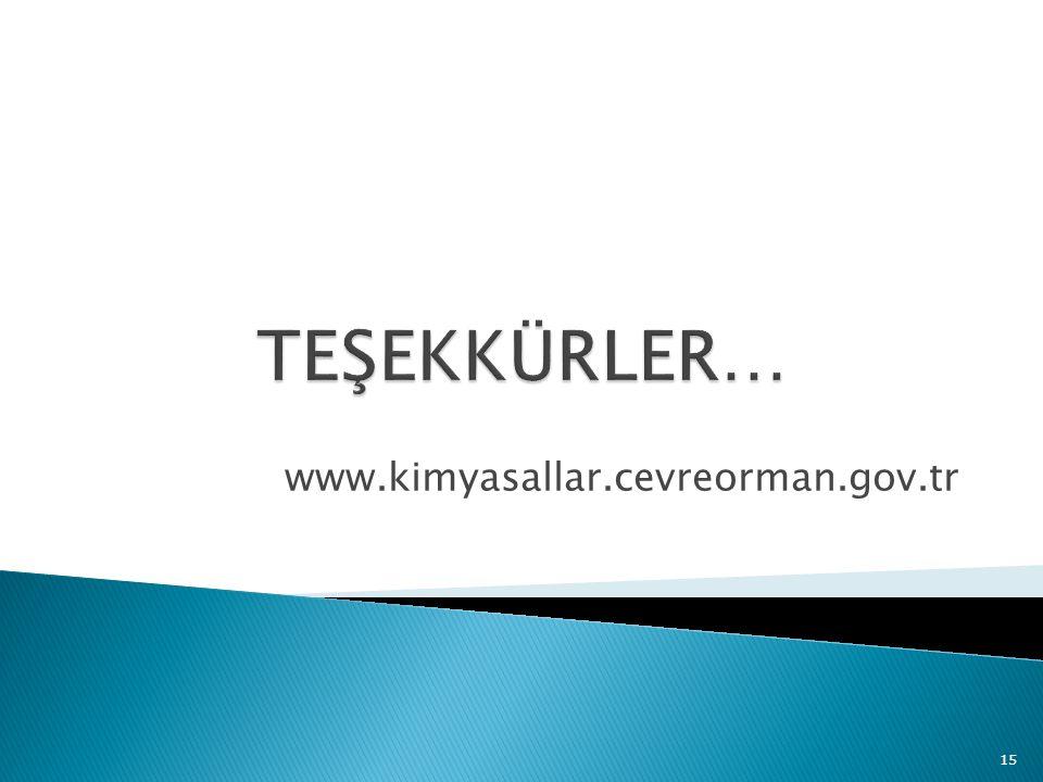 www.kimyasallar.cevreorman.gov.tr 15