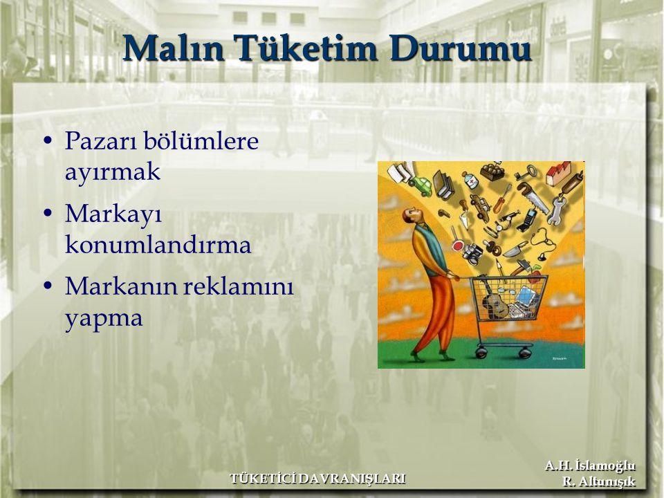 A.H. İslamoğlu R. Altunışık TÜKETİCİ DAVRANIŞLARI Malın Tüketim Durumu Pazarı bölümlere ayırmak Markayı konumlandırma Markanın reklamını yapma