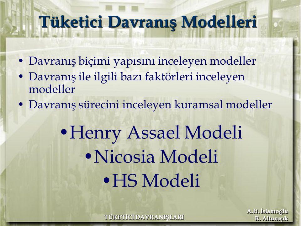 A.H. İslamoğlu R. Altunışık TÜKETİCİ DAVRANIŞLARI Tüketici Davranış Modelleri Davranış biçimi yapısını inceleyen modeller Davranış ile ilgili bazı fak