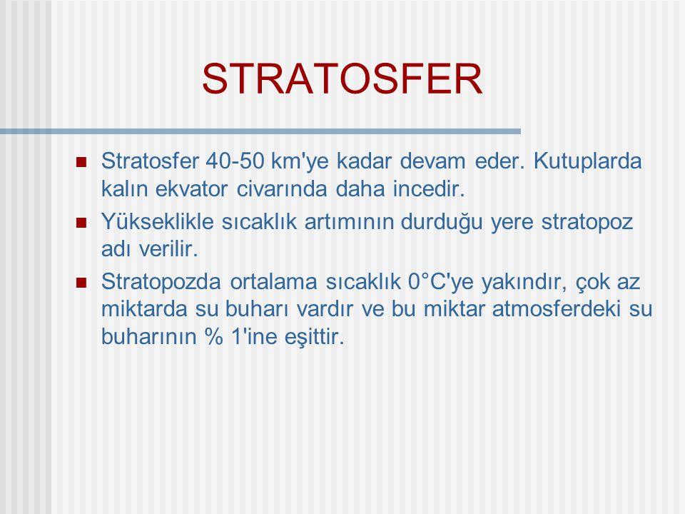 STRATOSFER Stratosfer 40-50 km'ye kadar devam eder. Kutuplarda kalın ekvator civarında daha incedir. Yükseklikle sıcaklık artımının durduğu yere strat