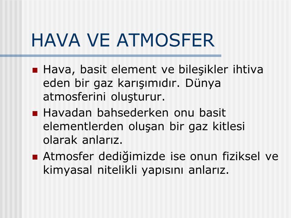 HAVA VE ATMOSFER Hava, basit element ve bileşikler ihtiva eden bir gaz karışımıdır. Dünya atmosferini oluşturur. Havadan bahsederken onu basit element