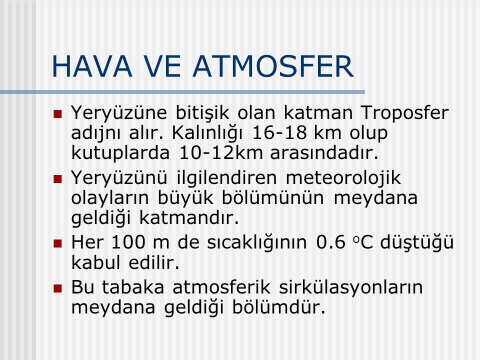 HAVA VE ATMOSFER Yeryüzüne bitişik olan katman Troposfer adıjnı alır. Kalınlığı 16-18 km olup kutuplarda 10-12km arasındadır. Yeryüzünü ilgilendiren m