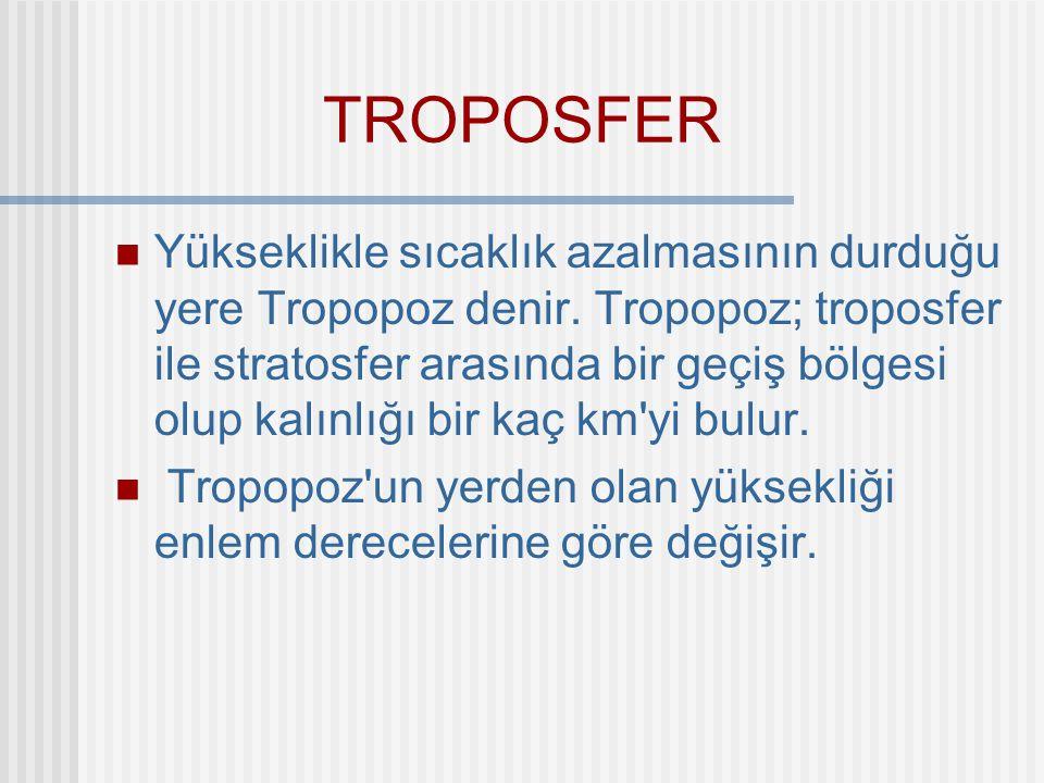 TROPOSFER Yükseklikle sıcaklık azalmasının durduğu yere Tropopoz denir. Tropopoz; troposfer ile stratosfer arasında bir geçiş bölgesi olup kalınlığı b