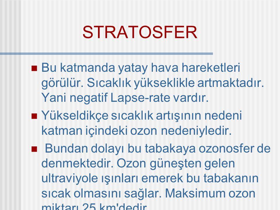 STRATOSFER Stratosfer 40-50 km ye kadar devam eder.