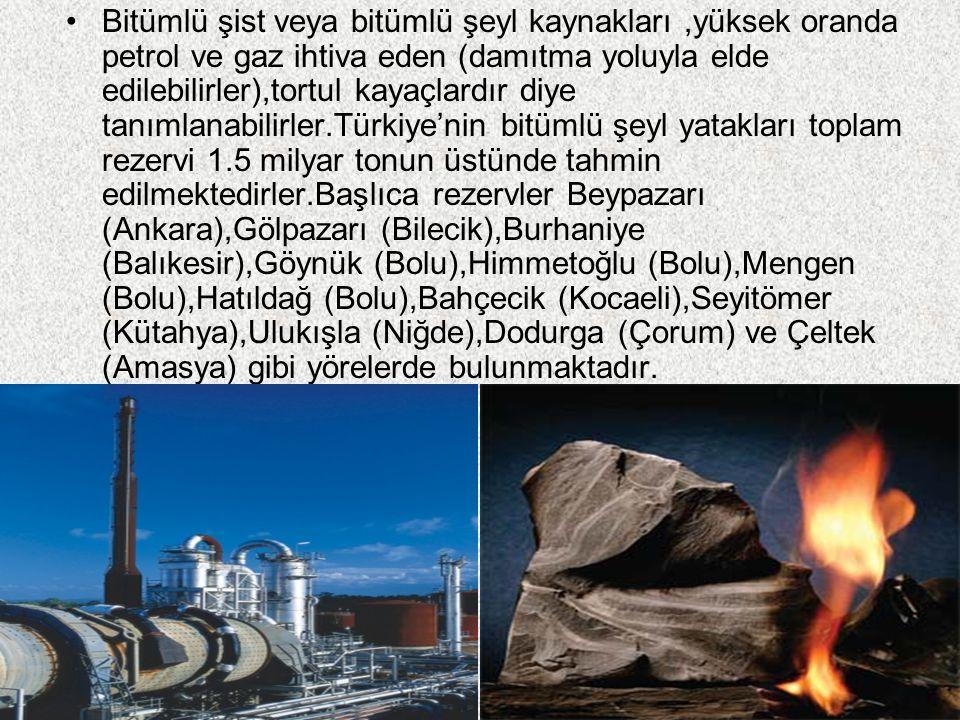 Bitümlü şist veya bitümlü şeyl kaynakları,yüksek oranda petrol ve gaz ihtiva eden (damıtma yoluyla elde edilebilirler),tortul kayaçlardır diye tanımlanabilirler.Türkiye'nin bitümlü şeyl yatakları toplam rezervi 1.5 milyar tonun üstünde tahmin edilmektedirler.Başlıca rezervler Beypazarı (Ankara),Gölpazarı (Bilecik),Burhaniye (Balıkesir),Göynük (Bolu),Himmetoğlu (Bolu),Mengen (Bolu),Hatıldağ (Bolu),Bahçecik (Kocaeli),Seyitömer (Kütahya),Ulukışla (Niğde),Dodurga (Çorum) ve Çeltek (Amasya) gibi yörelerde bulunmaktadır.