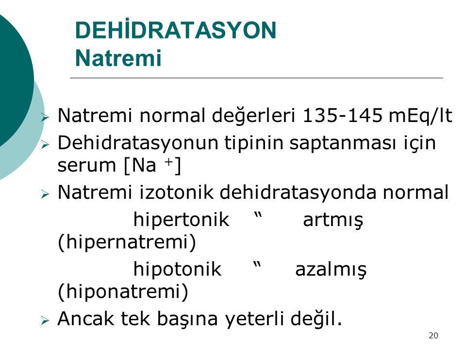 20 DEHİDRATASYON Natremi  Natremi normal değerleri 135-145 mEq/lt  Dehidratasyonun tipinin saptanması için serum [Na + ]  Natremi izotonik dehidratasyonda normal hipertonik artmış (hipernatremi) hipotonik azalmış (hiponatremi)  Ancak tek başına yeterli değil.