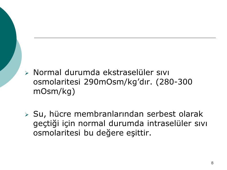 8  Normal durumda ekstraselüler sıvı osmolaritesi 290mOsm/kg'dır.