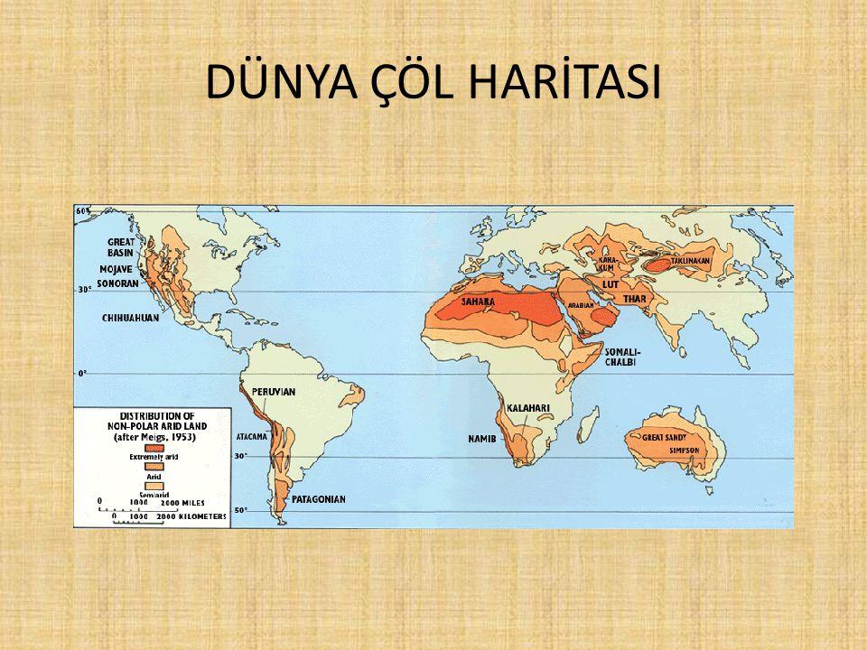 ÇÖLLERİN YÜZÖLÇÜMÜ SırasıÇölYer aldığı KıtaYüzölçümü ( km² ) 1Büyük SahraAfrika9.065.000 2ArabistanAsya1.300.000 3GobiAsya1.040.000 4KalahariAfrika580.000 5Büyük KumAvustralya414.000 6ArizonaAmerika370.000 7TaklamakanAsya320.000 8KarakumAsya310.000 9NamibAfrika310.000 10TarrAsya260.000