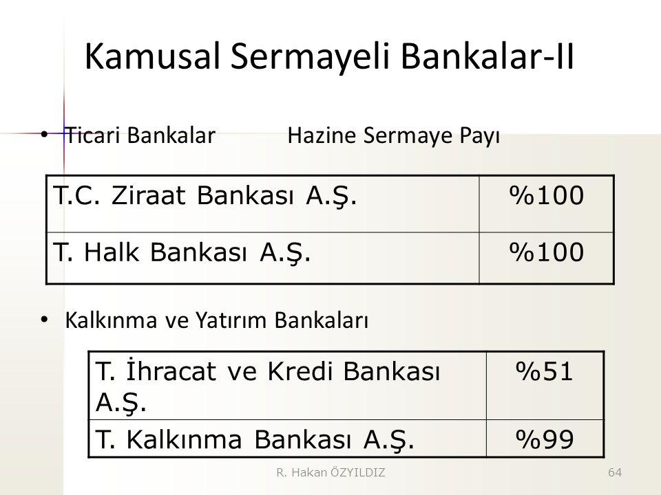 Kamusal Sermayeli Bankalar-II Ticari Bankalar Hazine Sermaye Payı Kalkınma ve Yatırım Bankaları T.C. Ziraat Bankası A.Ş.%100 T. Halk Bankası A.Ş.%100