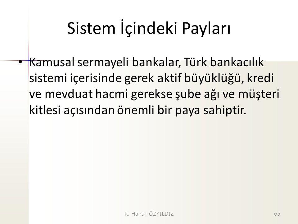 Sistem İçindeki Payları Kamusal sermayeli bankalar, Türk bankacılık sistemi içerisinde gerek aktif büyüklüğü, kredi ve mevduat hacmi gerekse şube ağı