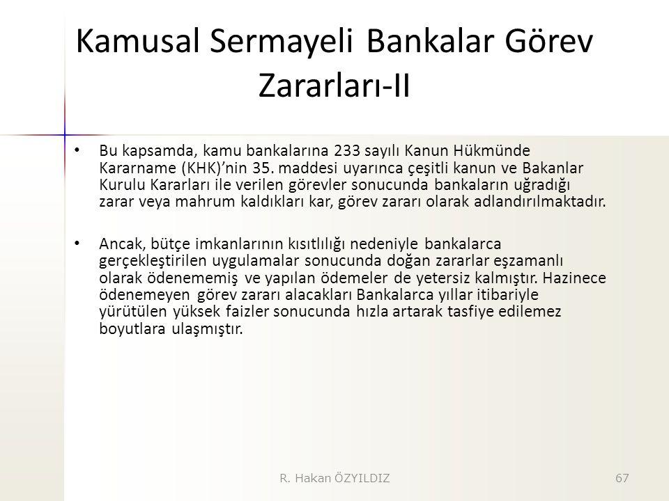 Kamusal Sermayeli Bankalar Görev Zararları-II Bu kapsamda, kamu bankalarına 233 sayılı Kanun Hükmünde Kararname (KHK)'nin 35. maddesi uyarınca çeşitli