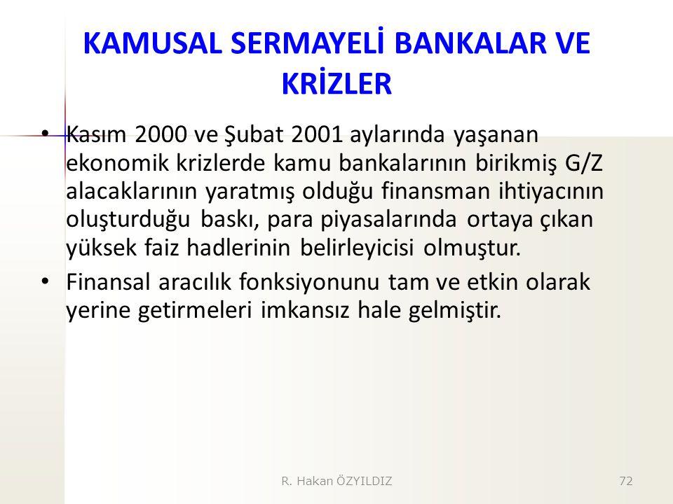 KAMUSAL SERMAYELİ BANKALAR VE KRİZLER Kasım 2000 ve Şubat 2001 aylarında yaşanan ekonomik krizlerde kamu bankalarının birikmiş G/Z alacaklarının yarat