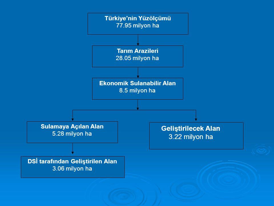 Türkiye'nin Yüzölçümü 77.95 milyon ha Tarım Arazileri 28.05 milyon ha Ekonomik Sulanabilir Alan 8.5 milyon ha DSİ tarafından Geliştirilen Alan 3.06 mi