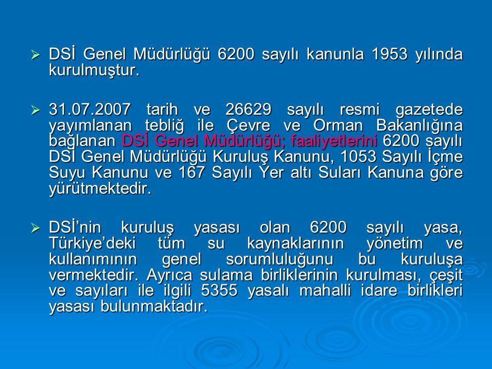  DSİ Genel Müdürlüğü 6200 sayılı kanunla 1953 yılında kurulmuştur.  31.07.2007 tarih ve 26629 sayılı resmi gazetede yayımlanan tebliğ ile Çevre ve O