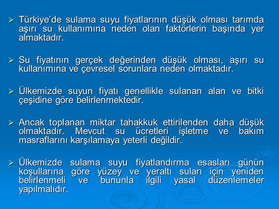  Türkiye'de sulama suyu fiyatlarının düşük olması tarımda aşırı su kullanımına neden olan faktörlerin başında yer almaktadır.  Su fiyatının gerçek d