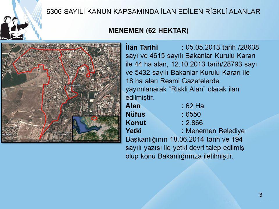 3 MENEMEN (62 HEKTAR) İlan Tarihi: 05.05.2013 tarih /28638 sayı ve 4615 sayılı Bakanlar Kurulu Kararı ile 44 ha alan, 12.10.2013 tarih/28793 sayı ve 5