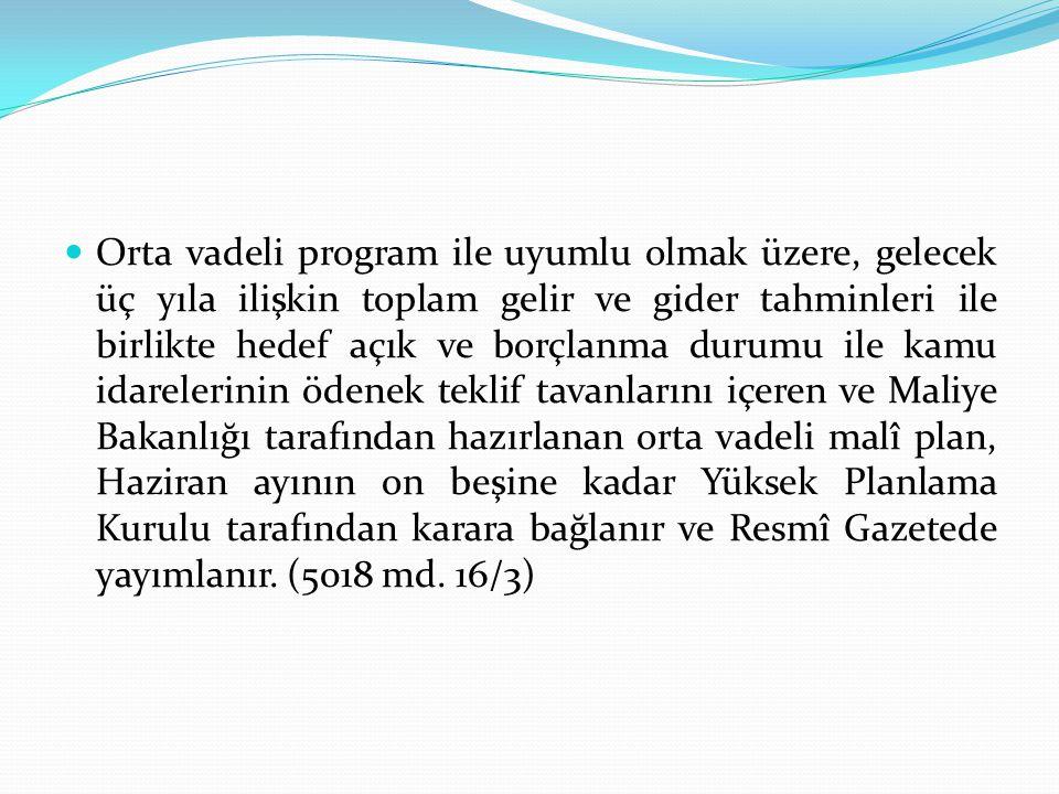Bütçe Süreci Orta Vadeli Program (Mayıs sonu) Orta Vadeli Mali Plan (15 Haziran) Bütçe Çağrısı ve Hazırlama Rehberi (Haziran sonu) Kurumların Bütçe Tekliflerini Maliye Bakanlığına Sunması.