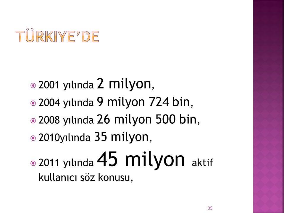  2001 yılında 2 milyon,  2004 yılında 9 milyon 724 bin,  2008 yılında 26 milyon 500 bin,  2010yılında 35 milyon,  2011 yılında 45 milyon aktif kullanıcı söz konusu, 35