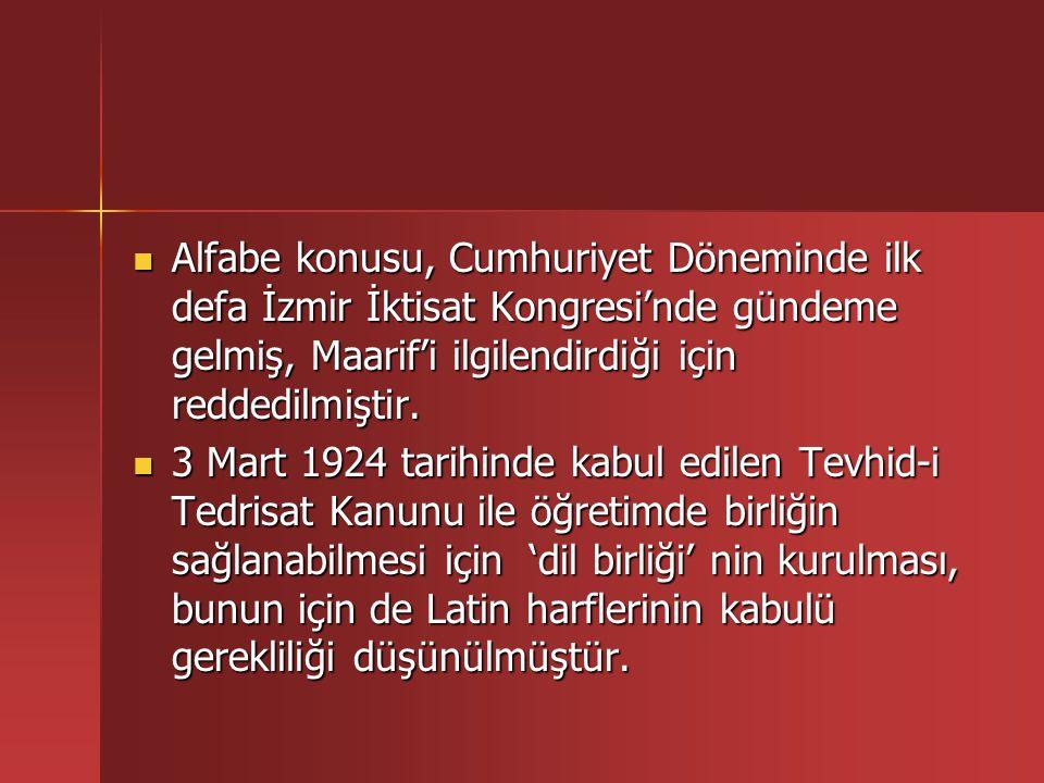 Yeni Türkiye'nin Latin Alfabesine geçmesini zorunlu kılan etmenler Yeni Türkiye'nin Latin Alfabesine geçmesini zorunlu kılan etmenler  Daha çok ünsüz ağırlıklı olan Arap Alfabesi'nin Türkçe'nin ünlülerini karşılamadaki yetersizliği  Yazılışı ile okunuşu farklı olan Arap alfabesinin öğrenilmesinde karşılaşılan güçlükler