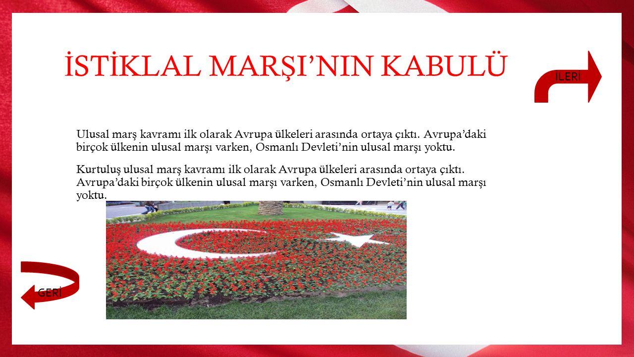 """Bir ulusun ba ğ ımsızlı ğ ının simgeleri ulusal mar ş ı, sınırları belirlenmi ş vatan topra ğ ı ve bayra ğ ıdır, Türk ulusunun ulusal mar ş ı, """"isti"""