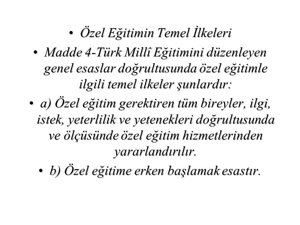 Özel Eğitimin Temel İlkeleriÖzel Eğitimin Temel İlkeleri Madde 4-Türk Millî Eğitimini düzenleyen genel esaslar doğrultusunda özel eğitimle ilgili teme
