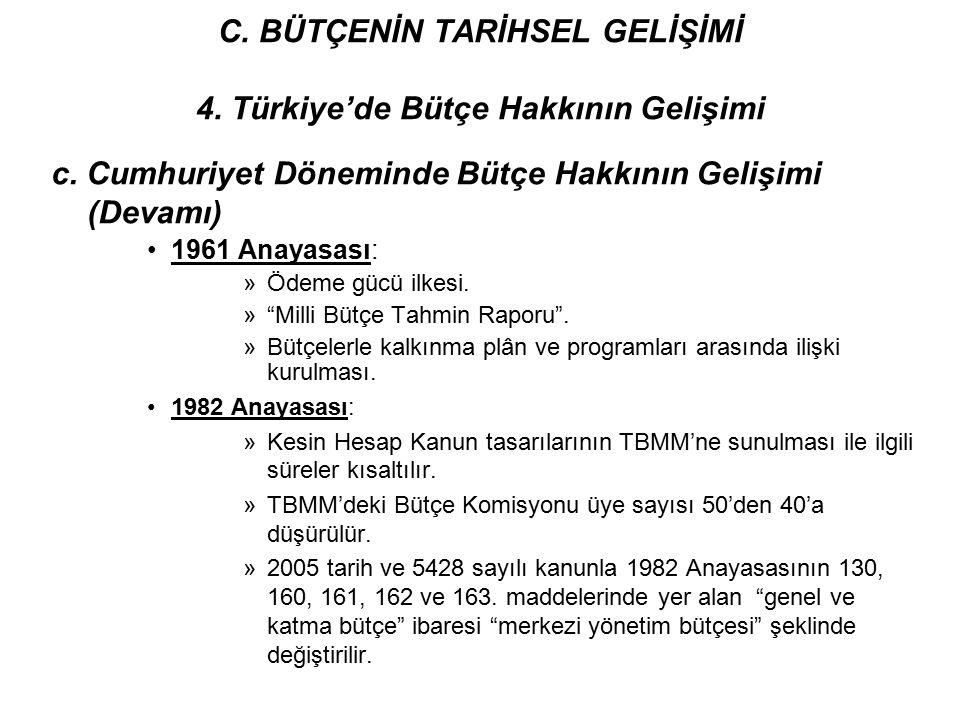"""c. Cumhuriyet Döneminde Bütçe Hakkının Gelişimi (Devamı) 1961 Anayasası: »Ödeme gücü ilkesi. »""""Milli Bütçe Tahmin Raporu"""". »Bütçelerle kalkınma plân v"""
