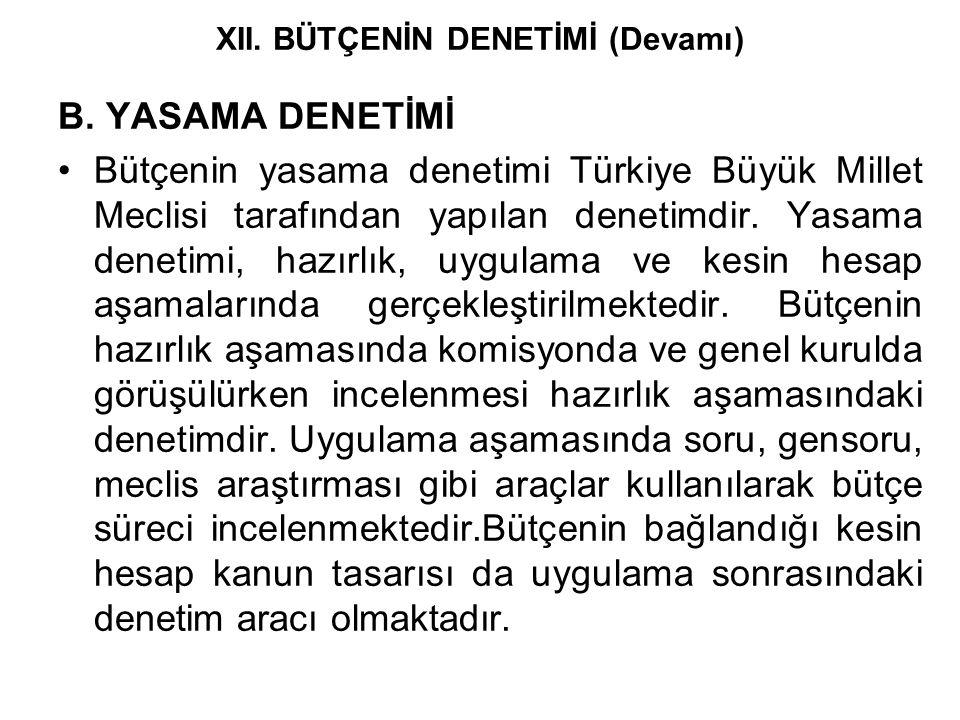 B. YASAMA DENETİMİ Bütçenin yasama denetimi Türkiye Büyük Millet Meclisi tarafından yapılan denetimdir. Yasama denetimi, hazırlık, uygulama ve kesin h