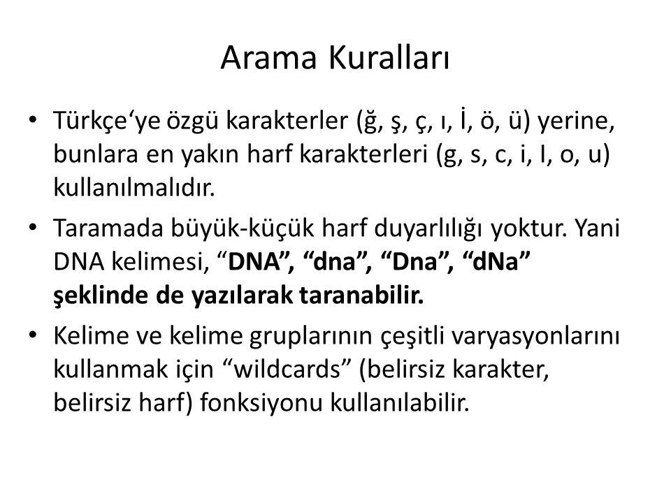 Arama Kuralları Türkçe'ye özgü karakterler (ğ, ş, ç, ı, İ, ö, ü) yerine, bunlara en yakın harf karakterleri (g, s, c, i, I, o, u) kullanılmalıdır.