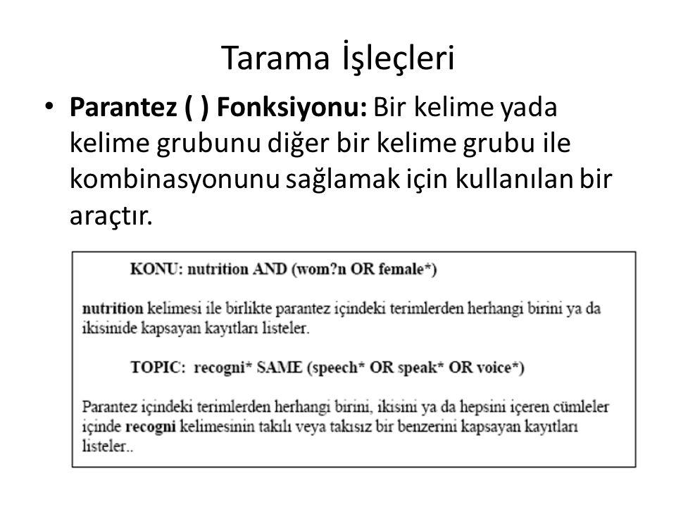 Tarama İşleçleri Parantez ( ) Fonksiyonu: Bir kelime yada kelime grubunu diğer bir kelime grubu ile kombinasyonunu sağlamak için kullanılan bir araçtır.