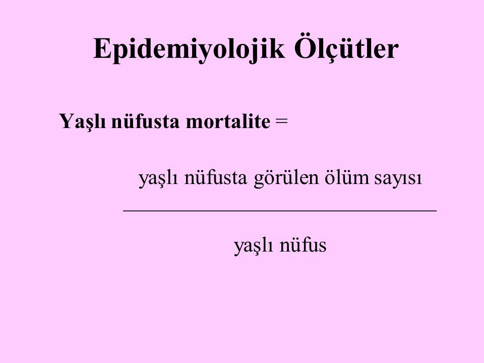 Yaşlı nüfusta mortalite = yaşlı nüfusta görülen ölüm sayısı _____________________________ yaşlı nüfus Epidemiyolojik Ölçütler