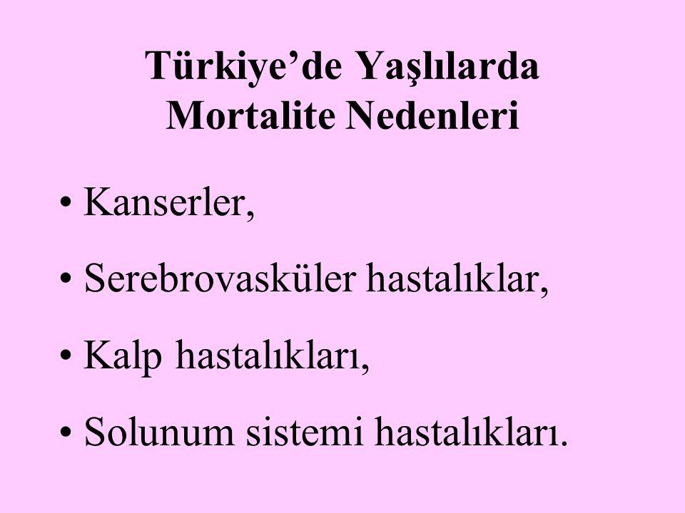 Türkiye'de Yaşlılarda Mortalite Nedenleri Kanserler, Serebrovasküler hastalıklar, Kalp hastalıkları, Solunum sistemi hastalıkları.