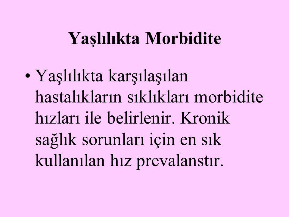 Yaşlılıkta Morbidite Yaşlılıkta karşılaşılan hastalıkların sıklıkları morbidite hızları ile belirlenir. Kronik sağlık sorunları için en sık kullanılan