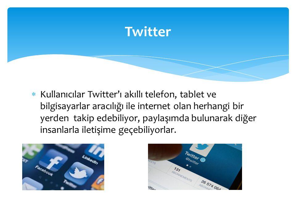  Kullanıcılar Twitter'ı akıllı telefon, tablet ve bilgisayarlar aracılığı ile internet olan herhangi bir yerden takip edebiliyor, paylaşımda bulunarak diğer insanlarla iletişime geçebiliyorlar.